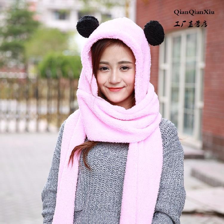 新款冬季韓版親子兒童保暖加厚毛絨兔耳朵圍脖手套圍巾帽子三件套