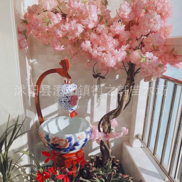 德之轩 批发仿真仿真樱花树价格 大型假花商场室内外装饰许愿树活动