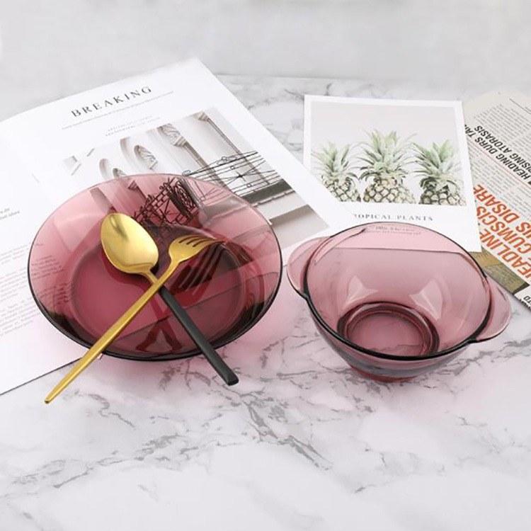 2件套茶色玻璃碗家用耐热玻璃吃饭用小号迷米饭碗双耳沙拉碗