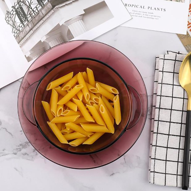 北欧茶色玻璃碗家用耐热玻璃吃饭用小号迷米饭碗双耳沙拉碗
