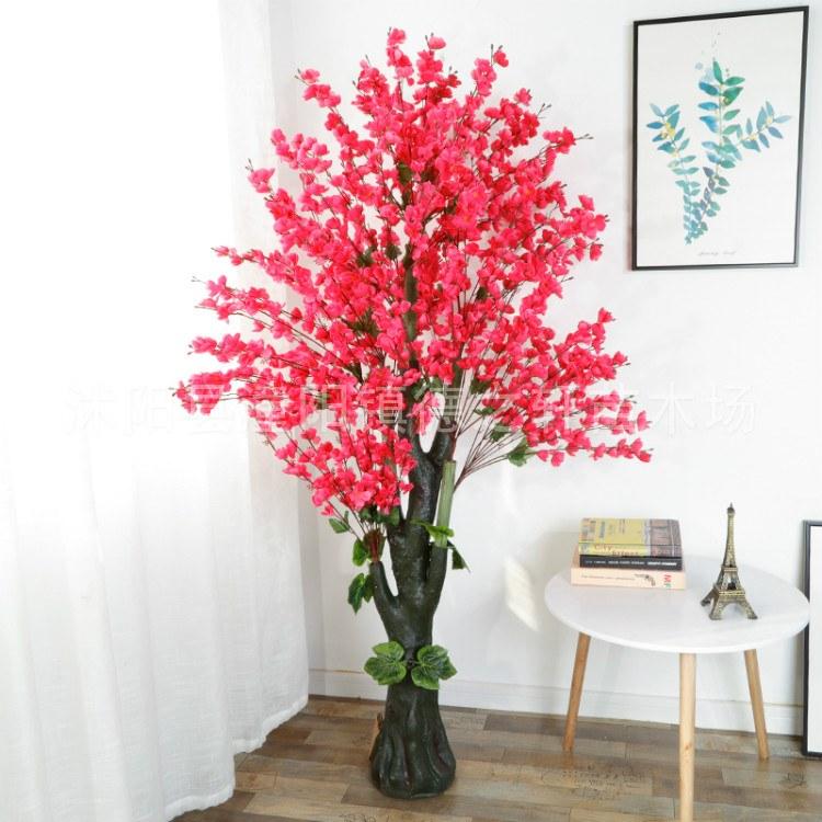 德之轩 直销商场摆设新年装饰室内许愿树拱形仿真桃花树樱花树假桃树大型酒店造景价格