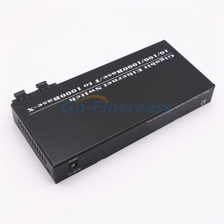 千兆2光8电单模双纤光纤收发器 1310nm 20km SC接口 8个RJ-45网络口