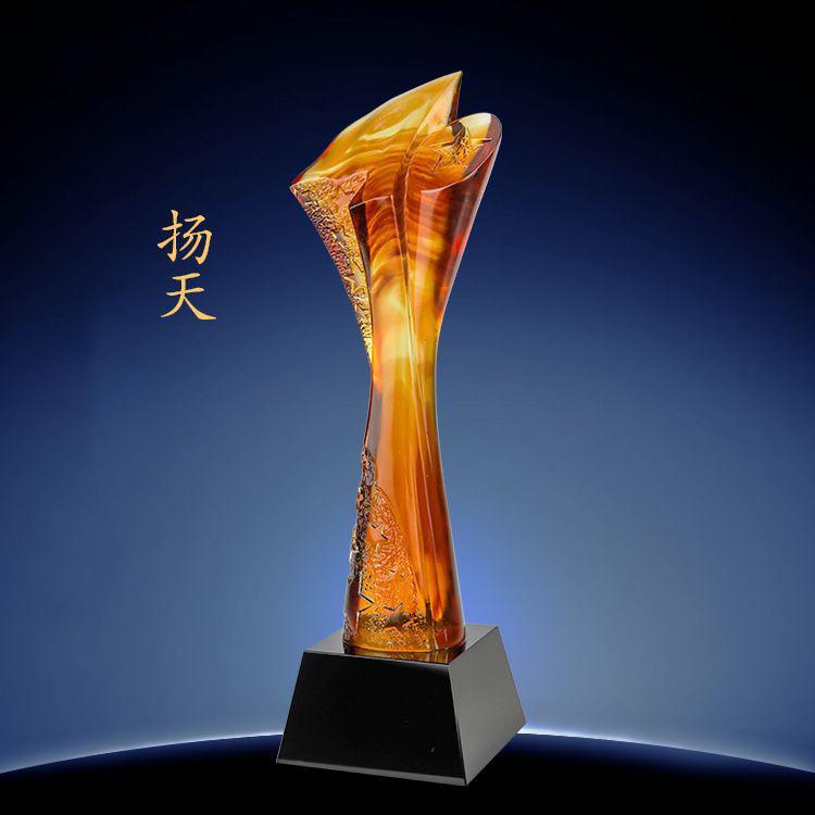 腾洪新款琉璃奖杯定制政府企业周年庆典颁奖40周年琉璃奖杯