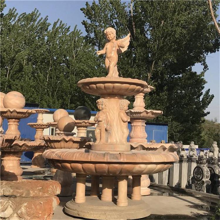 鸿煊石业出售 景观石雕喷泉 加工设计石雕 欧式三层喷泉