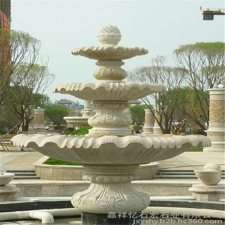 山东鸿煊石业 园林喷泉 石雕喷水池 花钵流水摆件