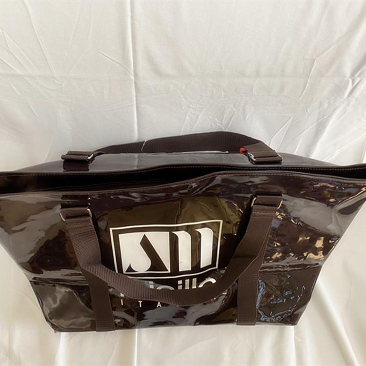拓普pvc镜面革漆皮亮皮手拎旅行袋购物袋健身厂家直销可定制LOGO