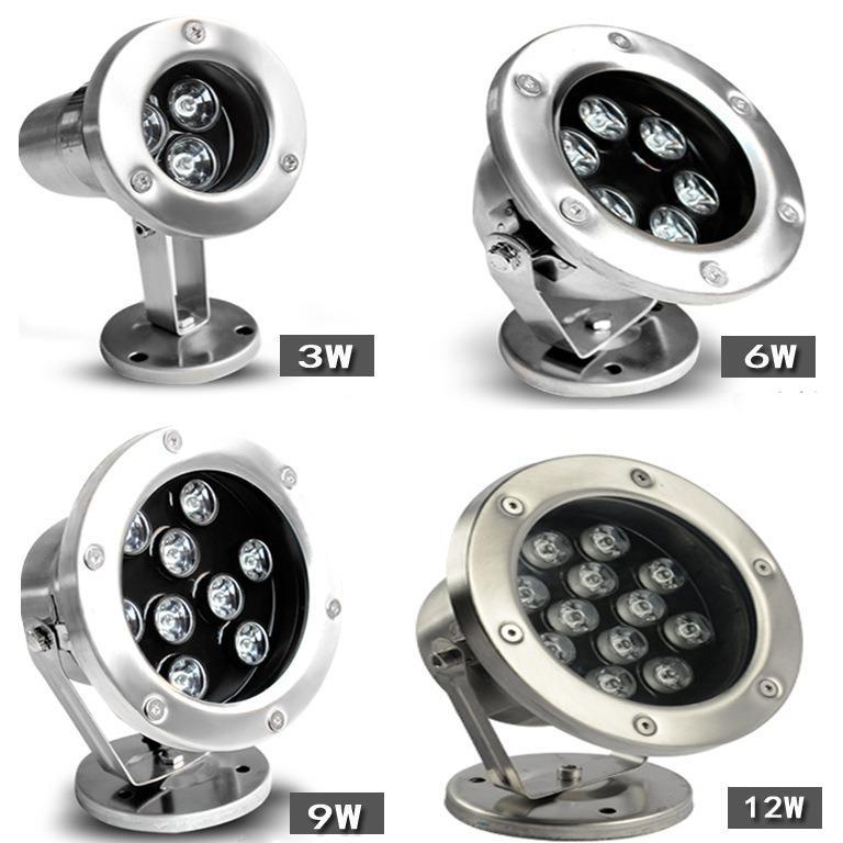 LED不锈钢水底灯单色七彩水下灯水池灯6W9W12W游泳池水景灯厂家