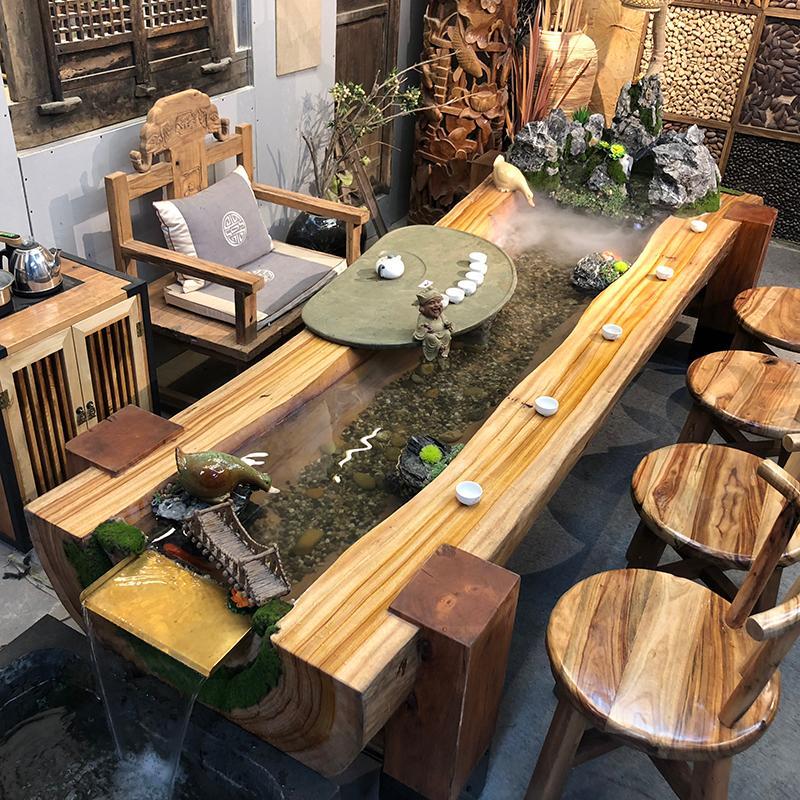 禅意新中式景观养鱼茶桌循环流水茶台创意桌椅休闲功夫泡茶茶几多功能组合