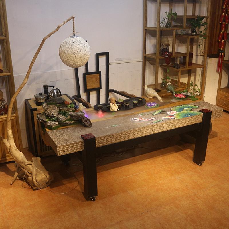 实木茶桌流水养鱼禅意创意新中式茶室商用办公室功夫茶台桌椅组合