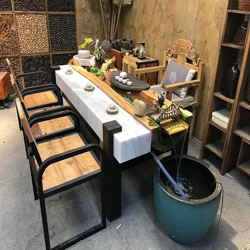 中式实木茶桌椅组合客厅茶几家用香樟木家具养鱼循环流水茶桌茶台