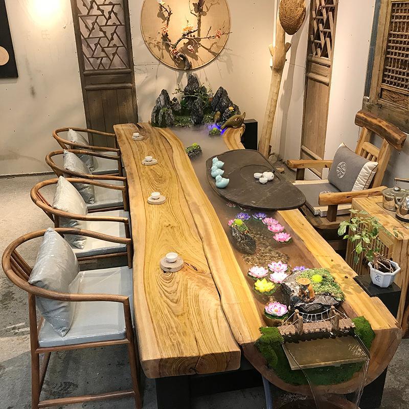 现代中式简约实木流水茶台功夫泡茶桌椅组合客厅茶室可养鱼喝茶桌