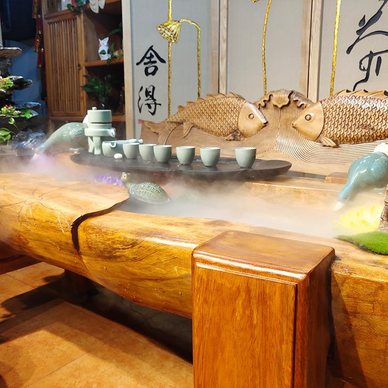 现代中式茶室实木流水茶台泡茶桌椅组合循环可养鱼办公室禅意茶几