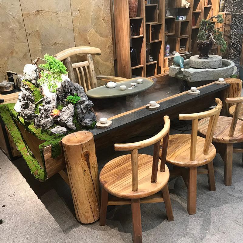 香樟木循环流水茶桌禅意家具养鱼客厅茶台功夫泡茶台循环流水台