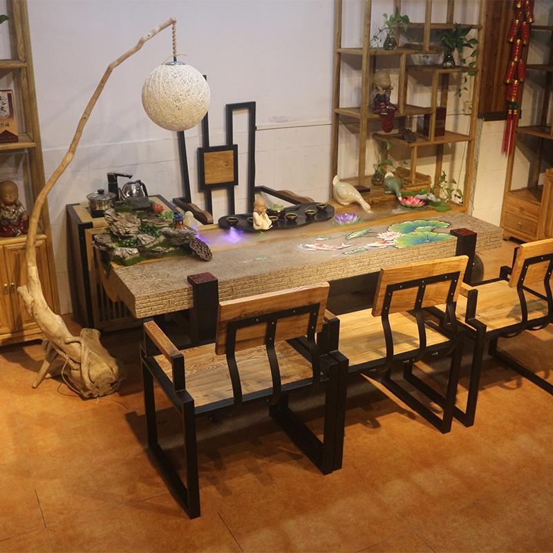 禅意流水循环可养鱼茶台樟木景观茶桌禅意茶台循环创意