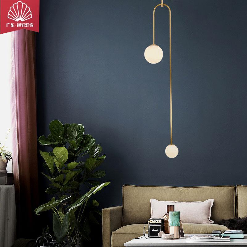 品牌通轩厂家直销现代北欧卧室床头吊灯后现代轻奢个性客厅餐厅吧台全铜吊灯