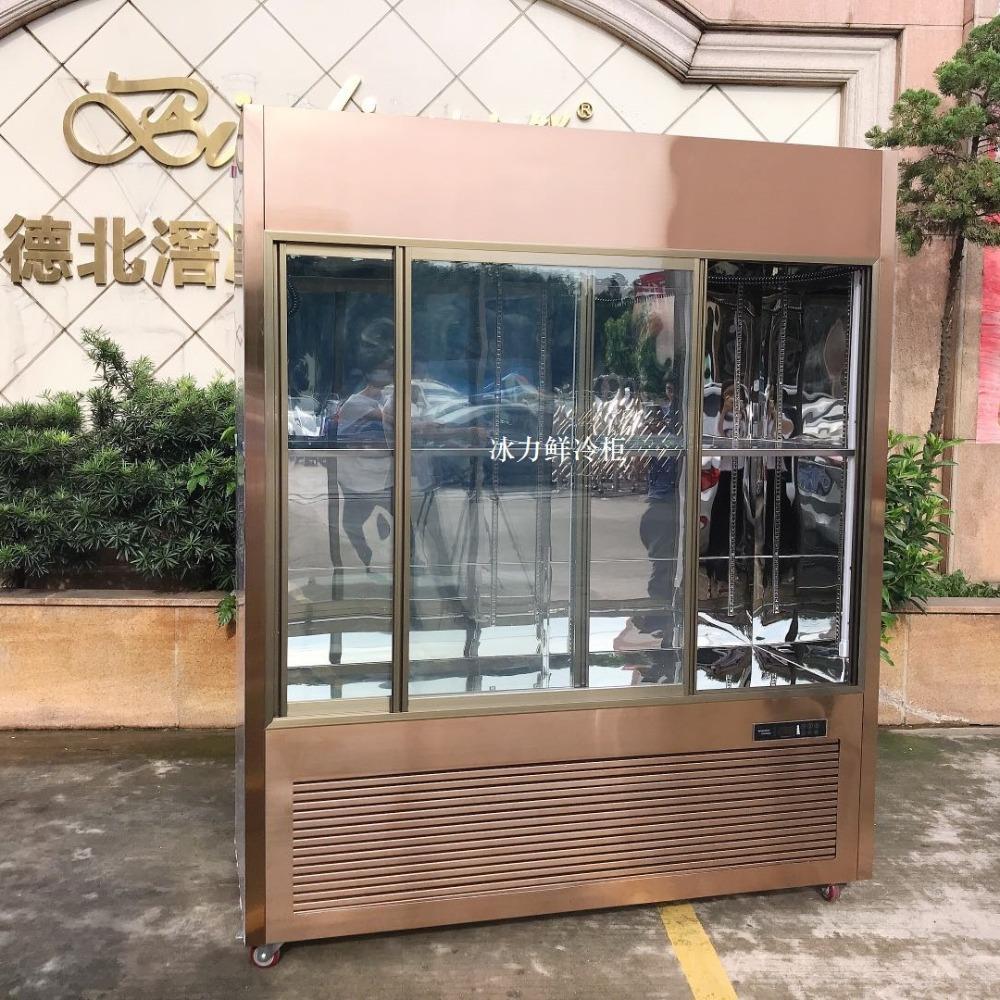 香港大型高档红酒柜雪茄柜别墅豪宅收藏酒冷藏柜温度湿度显示镜面黑钛金出口定制
