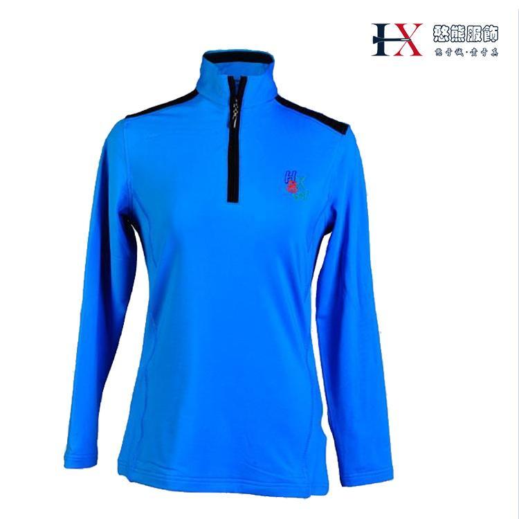 憨熊服饰新款女士高尔夫运动休闲 长袖T恤拉链式立领长袖