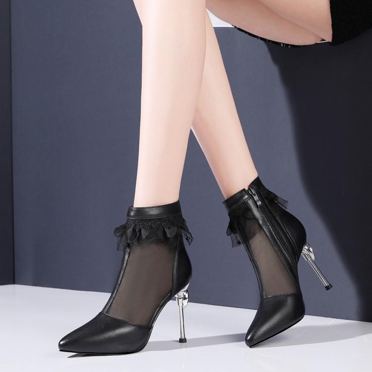 爱美成F2620女鞋代加工厂裙边尖头细高跟防水台中空真皮女单鞋女鞋代加工厂