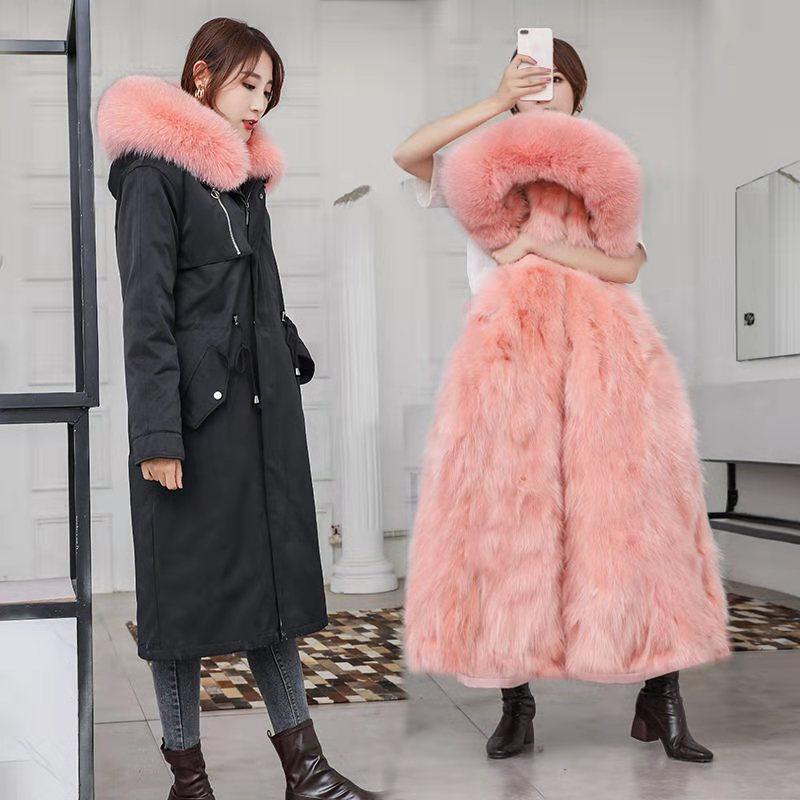2019新款冬派克服女皮草貉子外套可拆卸中长款尼克大衣