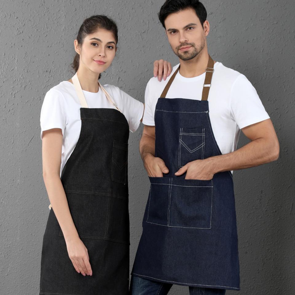 牛仔帆布咖啡厅服务员工作服围裙耐脏耐磨围裙98-114可锈LOGO