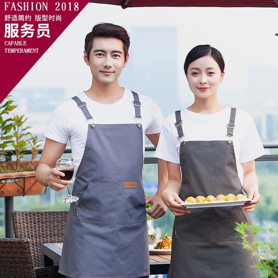 饭店围裙定制蛋糕快餐店 西餐厅饭店火锅店餐饮服装帆布调节围裙87-1023