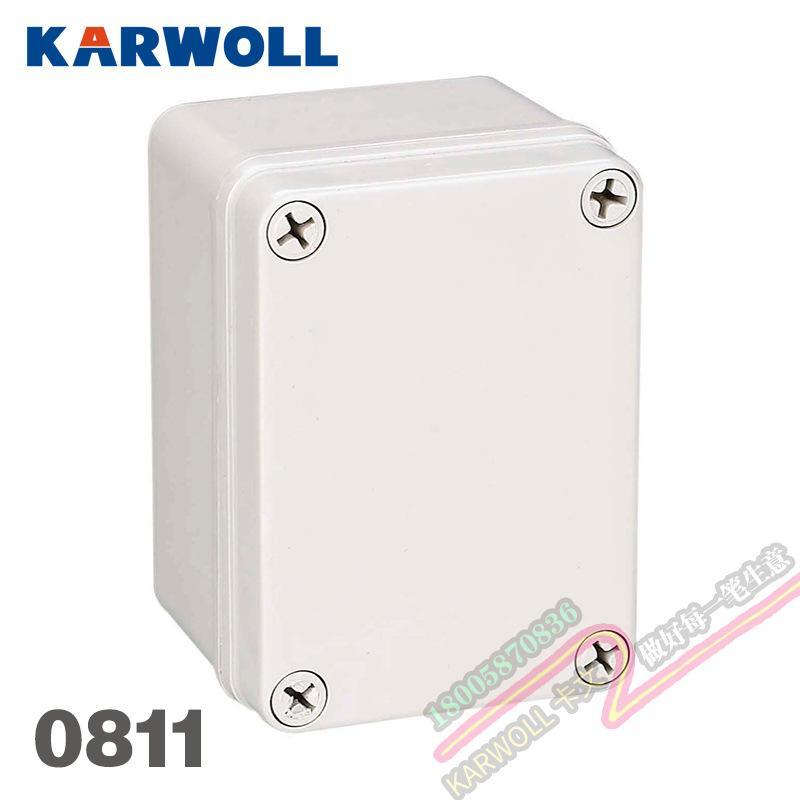 KARWOLL户外IP66防水盒塑料壳配电箱 DS-AG-0811接线盒密封盒80*110*70mm
