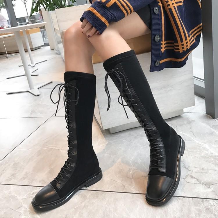 爱美成马丁机车女鞋代加工厂真皮绑带长短靴机车靴女鞋代加工厂