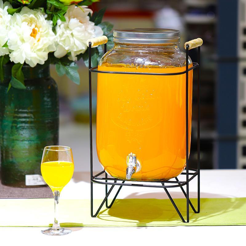 开关瓶果汁罐冷饮夏季玻璃凉水壶大容量冷水壶家用水龙头饮料桶
