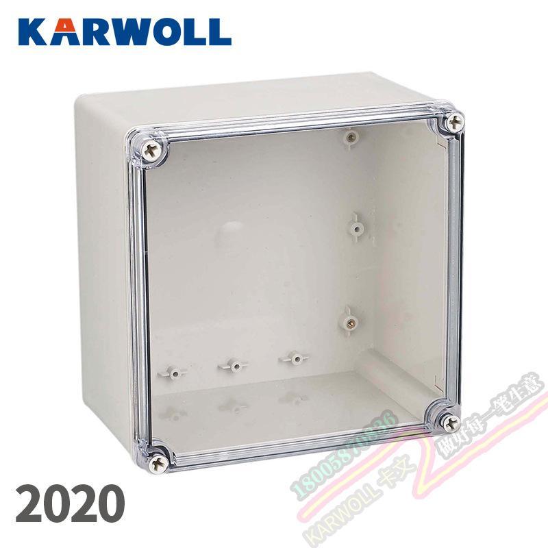 KARWOLL卡文 透明盖PC塑料材质工业防水防尘盒 200*200*130mm工控盒AT型监视盒