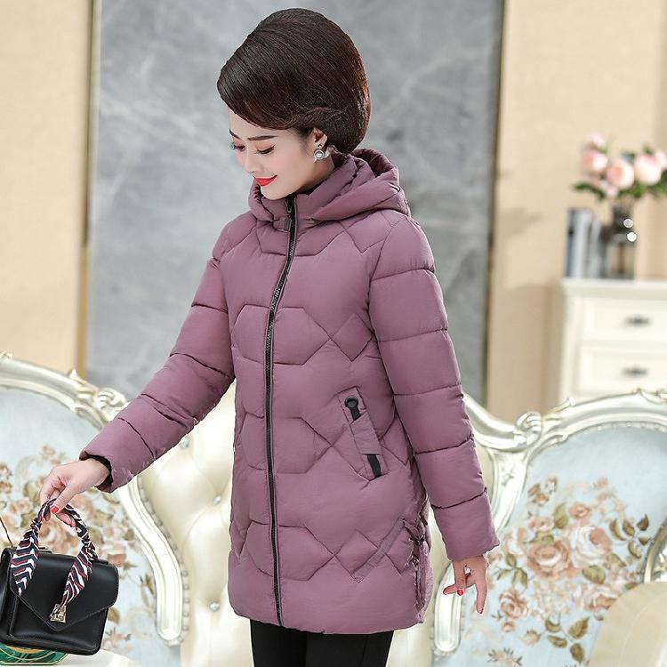 奶奶冬季棉衣加绒加厚棉袄连帽冬装加厚外套中年女装冬装