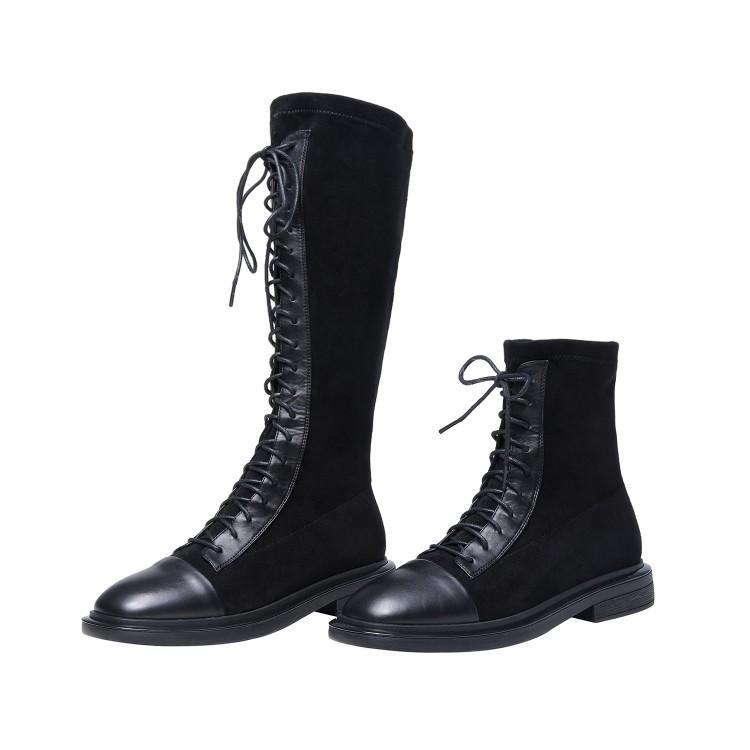 爱美成机车马丁女鞋代加工厂绑带高低帮真皮切尔西女靴