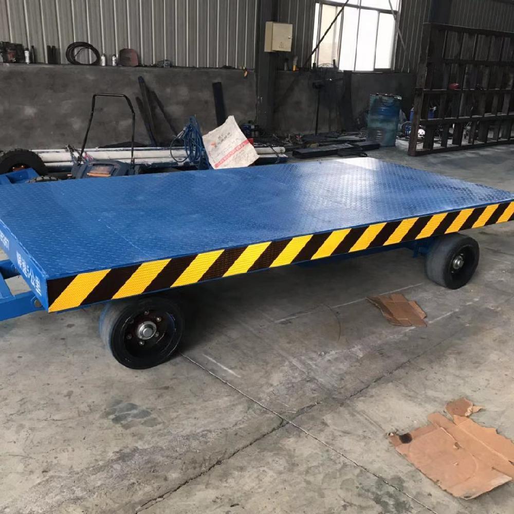 工厂仓库卸货小拖车 叉车牵引平板拖车 车间工件倒料车