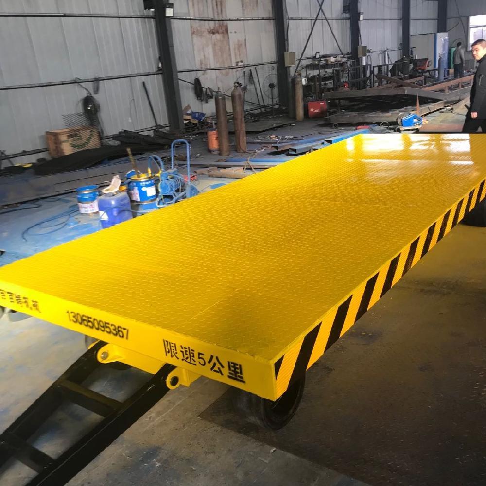 供应四轮平板拖车 小型牵引式货物周转运输搬运车 车间轨道转运车