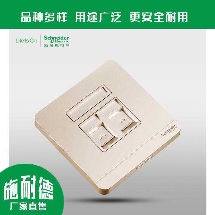 双联电脑插座 电脑插座品牌 E833RJS5 可靠性高 施耐德实力厂家