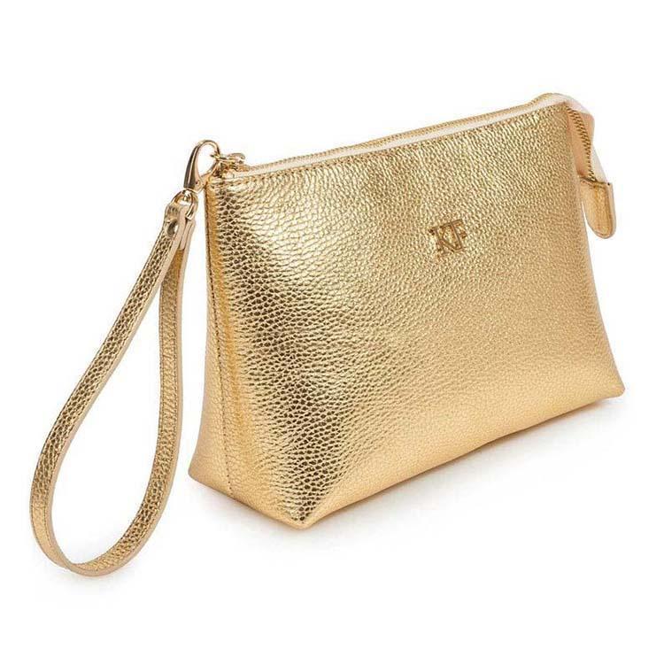 厂家定制化妆包金色防水化妆包女士洗漱包PU手拿包