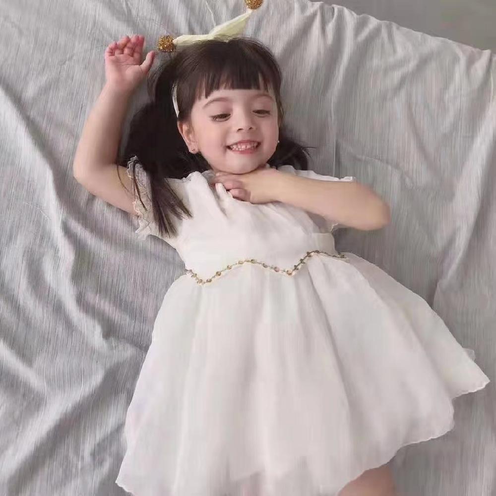 迪士尼莫小汐品牌童装折扣尾货 公主裙纱纱裙白色连衣裙 夏款清新元气风上新