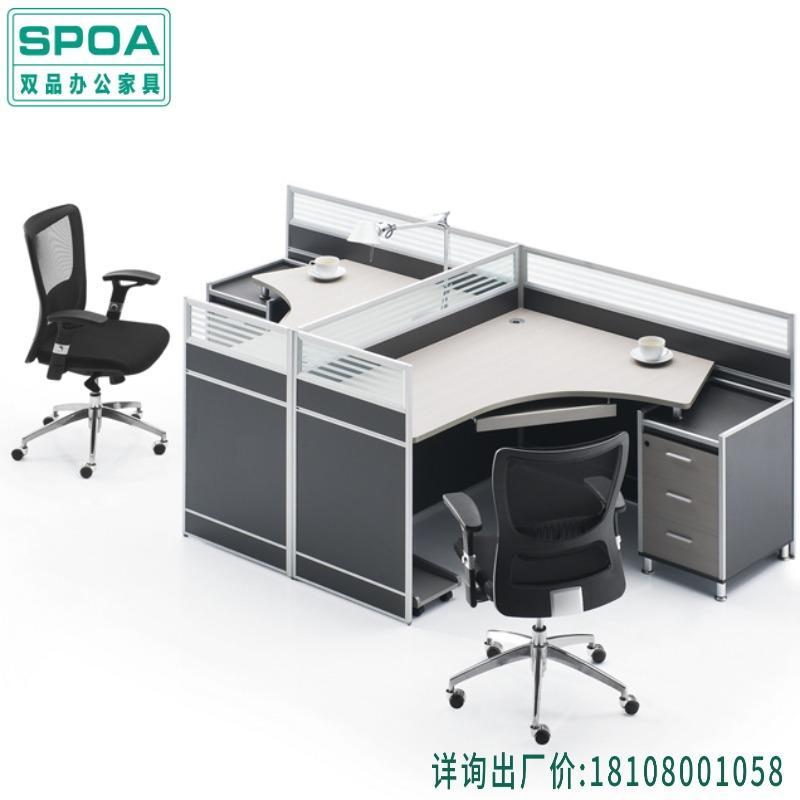 成都现代办公家具生产厂家 T字型2人组合员工桌 现代简约经理办公桌 公司创意转角工作台 屏风洽谈桌