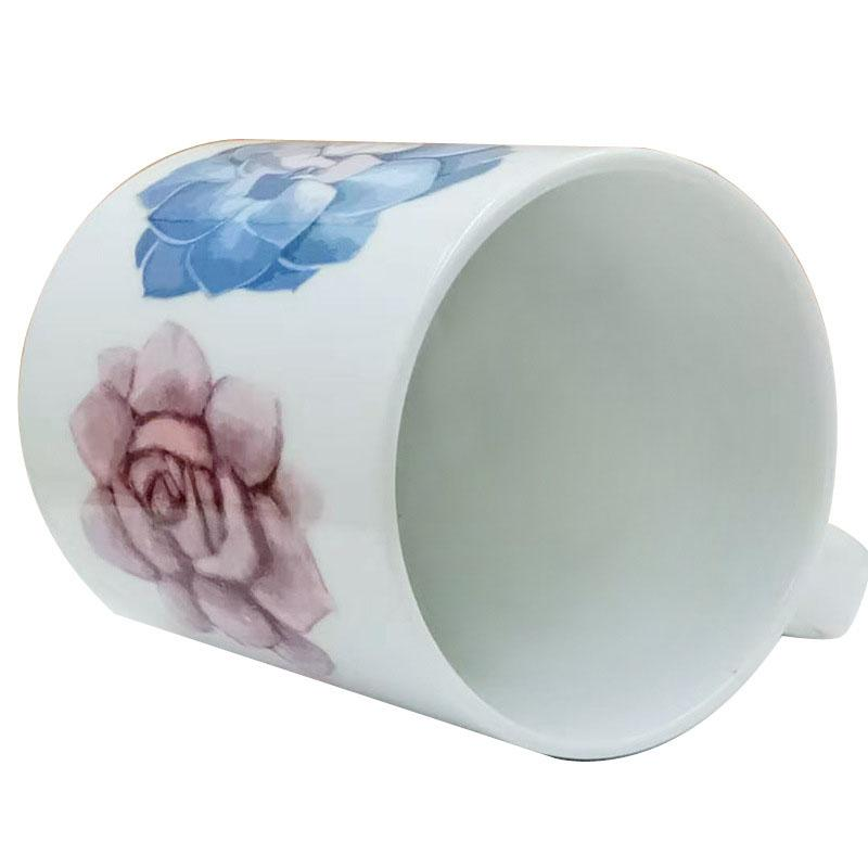 陶瓷影像杯 多肉白瓷马克杯定制广告促销杯 卡通创意陶瓷杯加logo