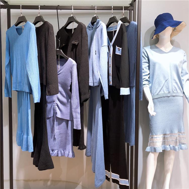 新款毛衣套装 时尚新款女装 品牌女装 走份折扣批发 尾货库存货源