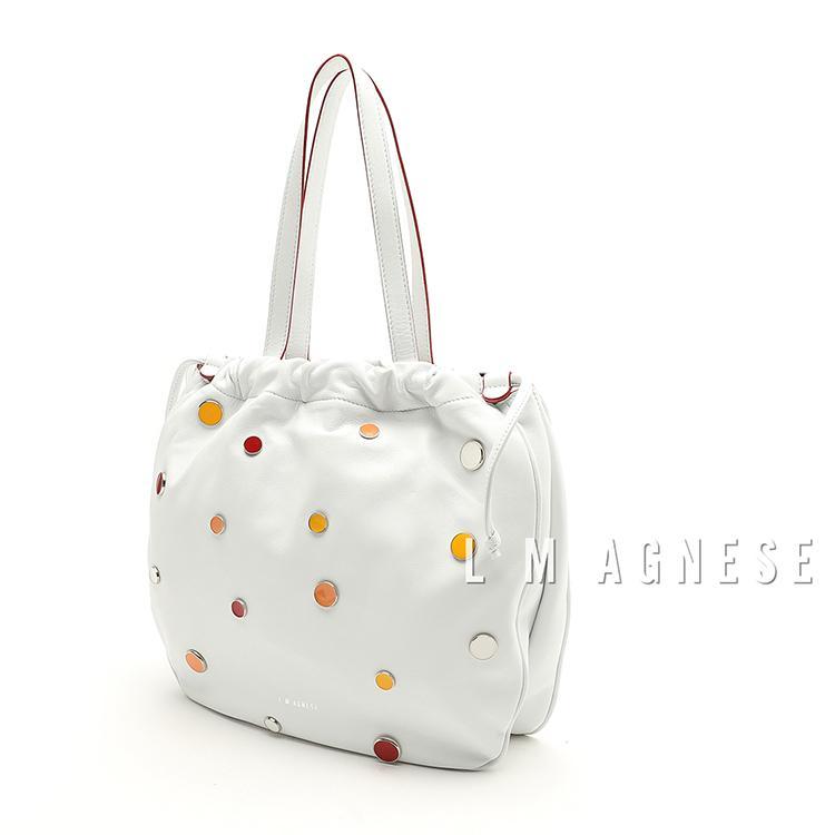 简爱格妮斯国际高端品牌女士包包真皮带彩色波点装饰手提女包