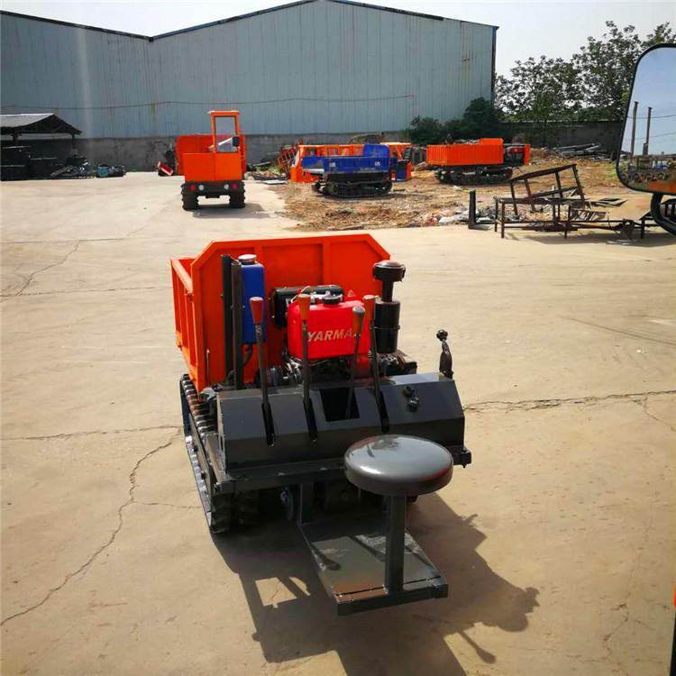果园大棚粮食蔬菜运输履带车 3吨座驾式履带运输车 农用爬坡物料搬运自卸车