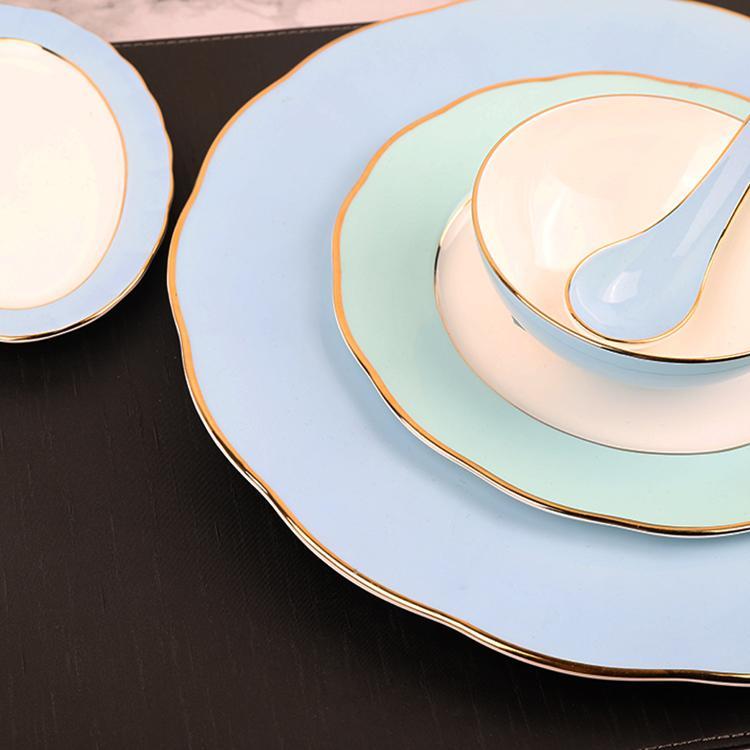 酒店摆台餐具陶瓷彩色金边盘碗勺七件套餐厅会所饭店高档餐具