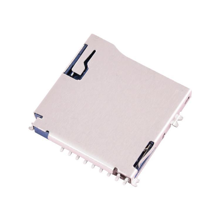 厂家供应TF卡座外焊自弹Push记忆内存卡槽Micro sd卡座