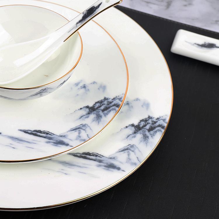 酒店用品摆台陶瓷餐具中式饭店会所山水骨碟碗勺杯七件套套装