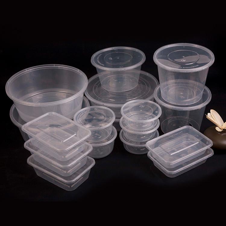 塑料盒子 透明食品盒 一次性餐盒 圆形长方形有盖 加厚外卖打包快餐盒