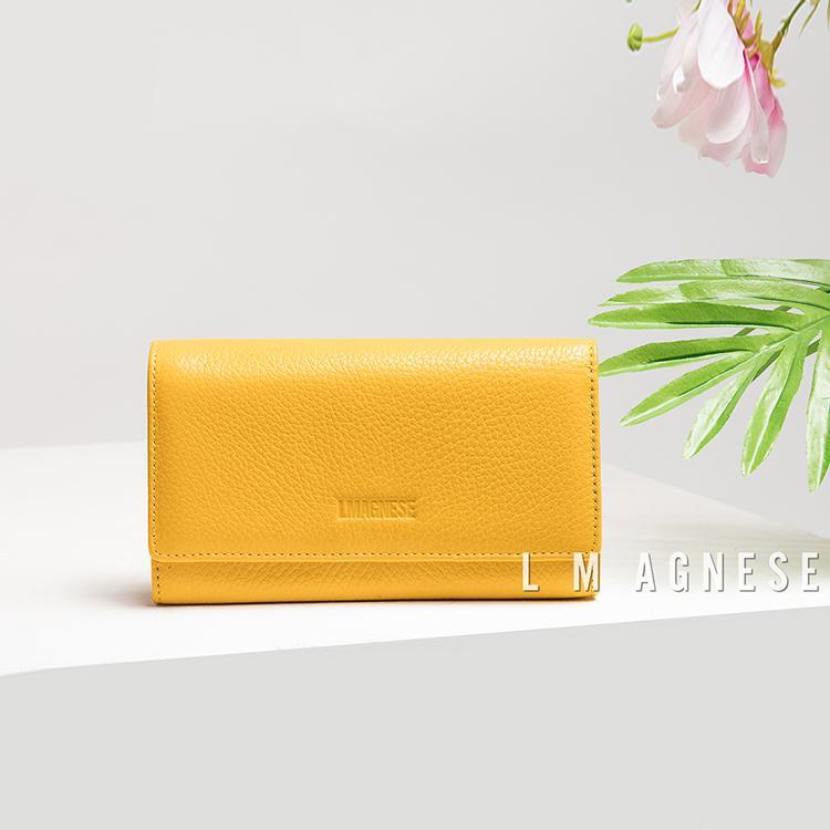 简爱格妮斯国际高端品牌女士包包专柜正品纯色真皮长款女士手拿钱包
