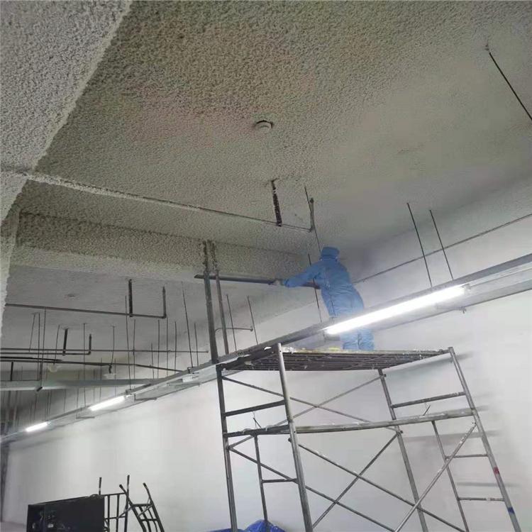 地下室顶板无机纤维喷涂地下室防潮吸音顶板无机保温喷涂硅酸铝纤维施工乾美保温