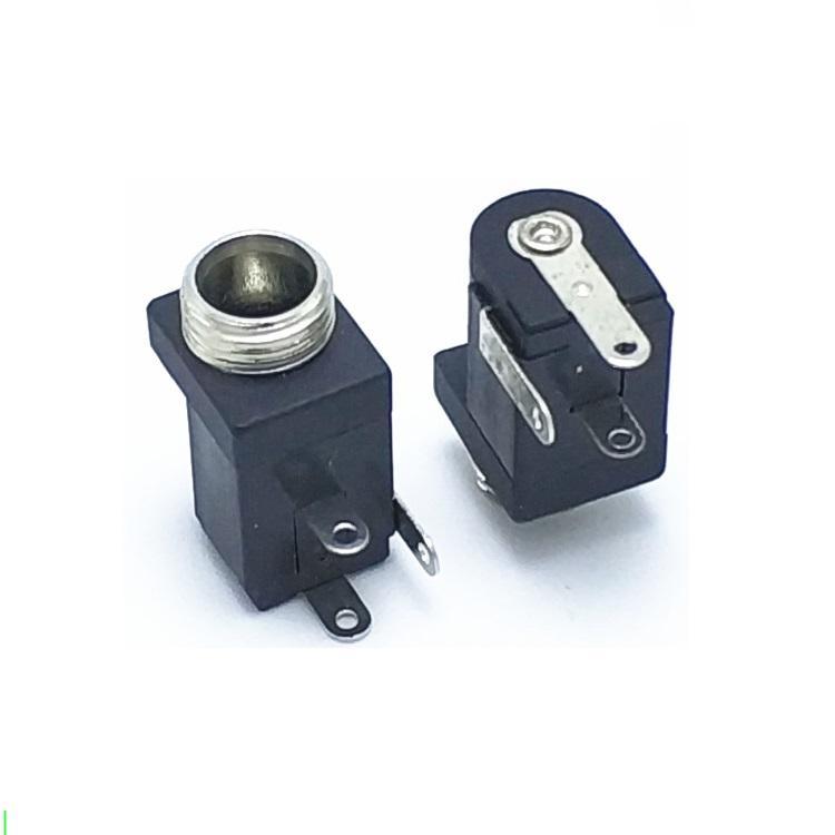 厂家供应DC电源插座DC-005M带螺纹三脚直插母座环保5.5*2.1现货