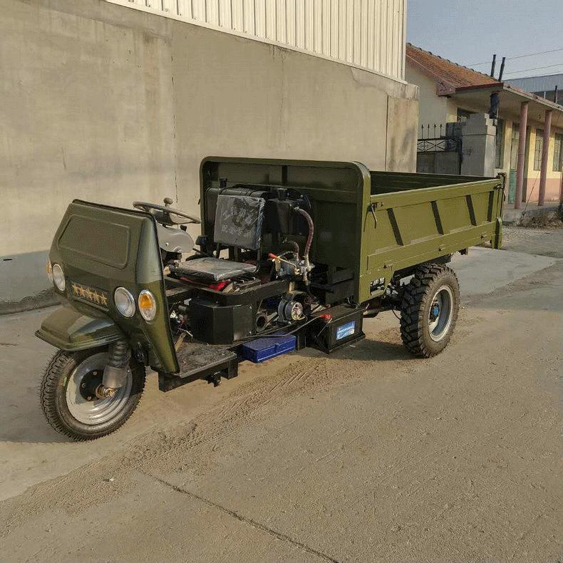 生产厂家工程三轮车液压矿用自卸农用三轮车工地运输车拉煤双座车