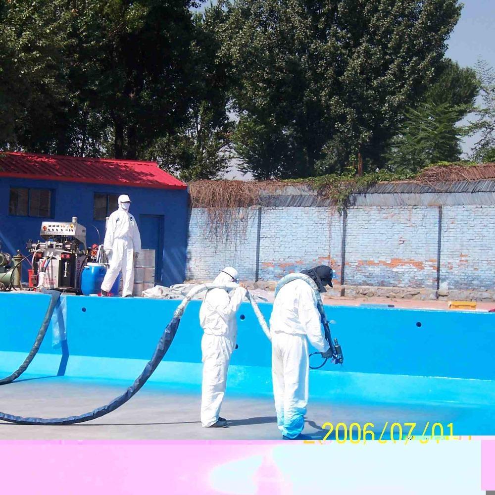 游泳池水上乐园喷涂聚脲防水涂料烟台鲁蒙喷涂聚脲防水涂料